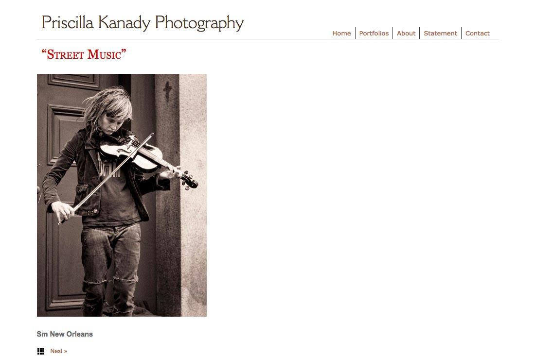 web design for a photographic artist - Priscilla Kanady - portfolios single photo page