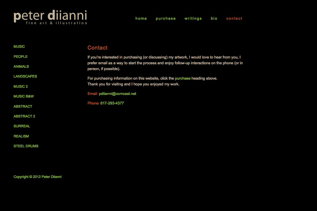 web design for an artist - Peter Diianni - contact page