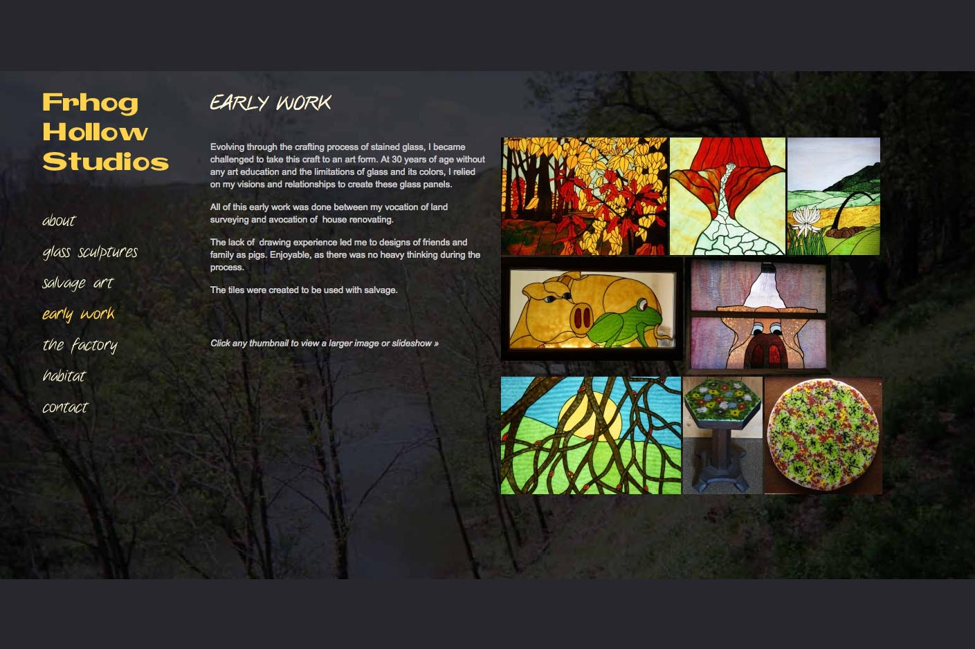 web design for a glass sculpture artist - early work page