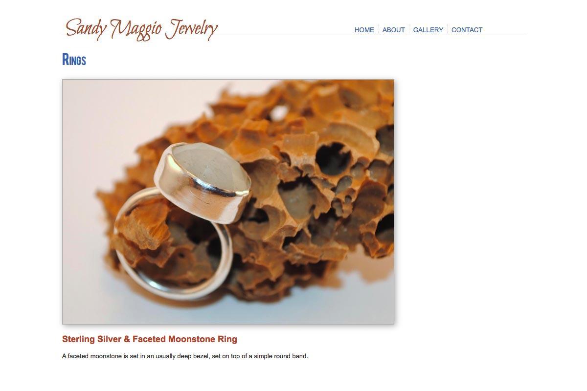 web design for an artisan-jeweler - single ring page
