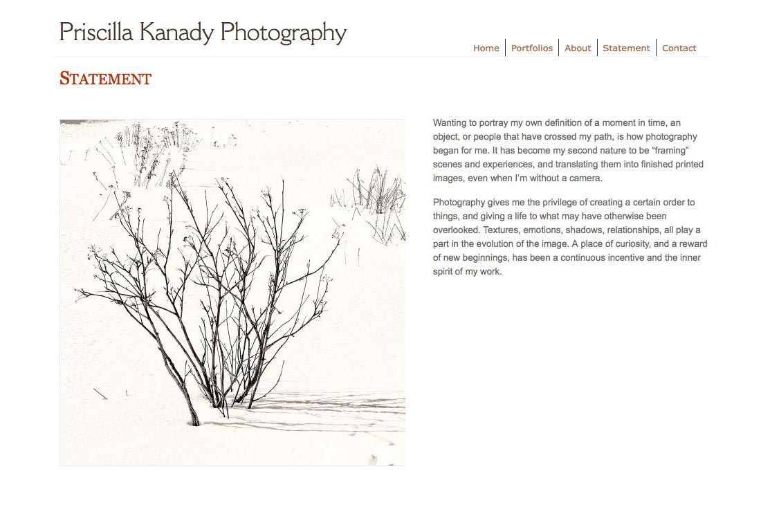 web design for a photographic artist - Priscilla Kanady - statement page