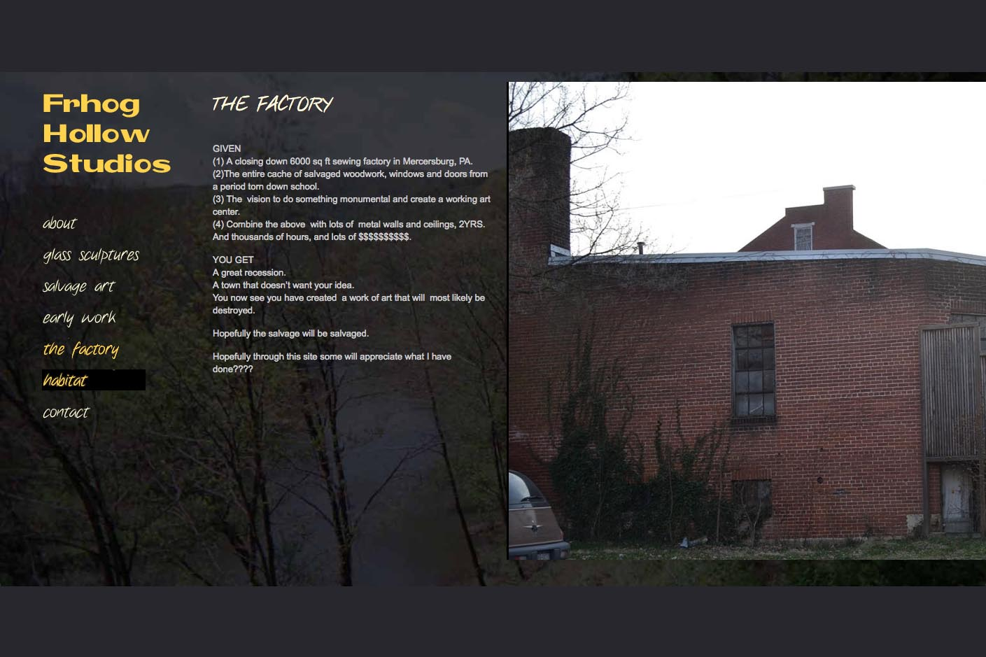 web design for a glass sculpture artist - the factory page