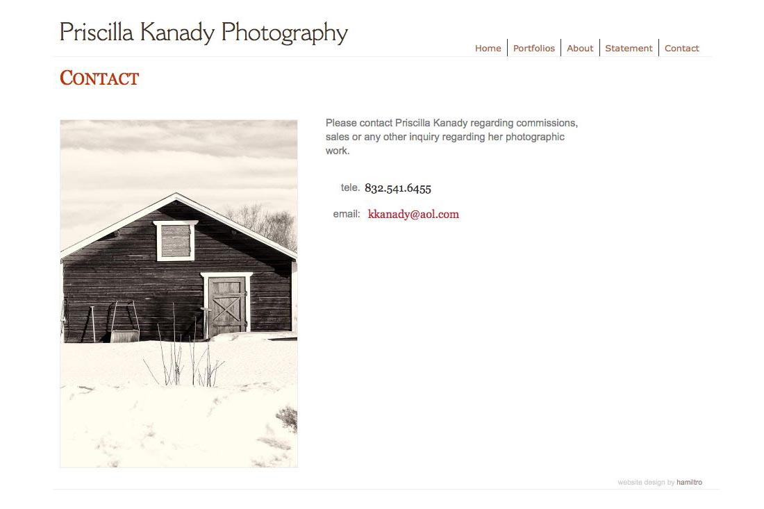 web design for a photographic artist - contact page