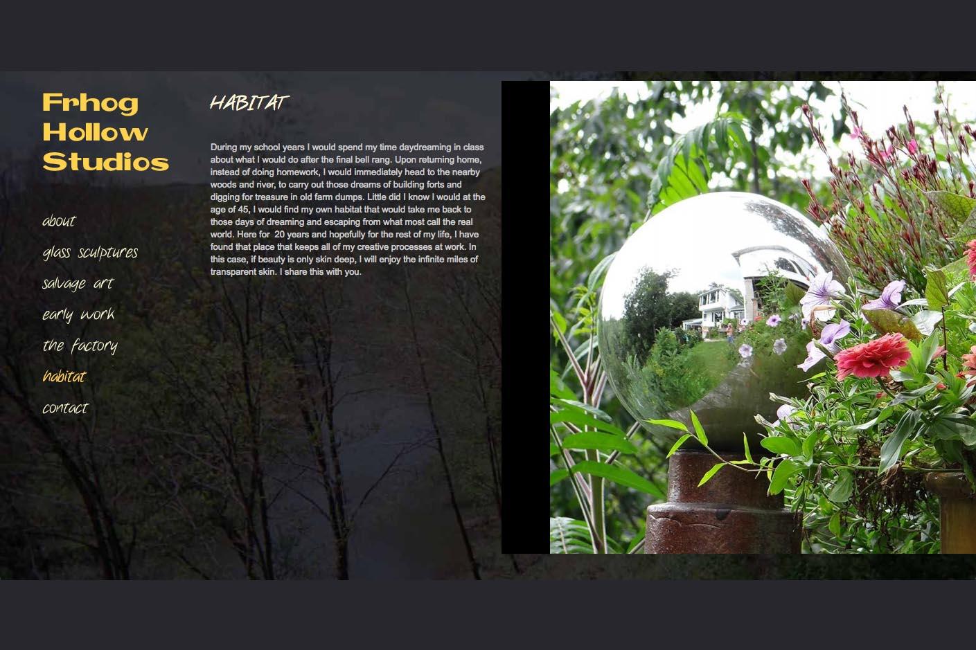 web design for a glass sculpture artist - habitat page