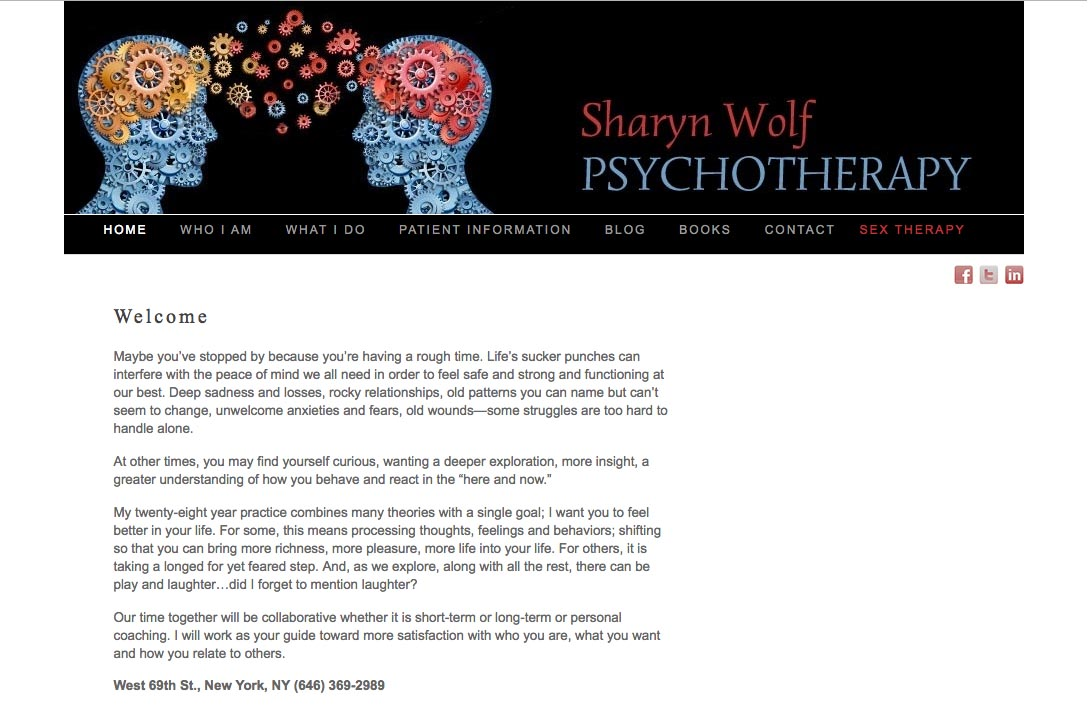 web design for a therapist and author - Sharyn Wolf