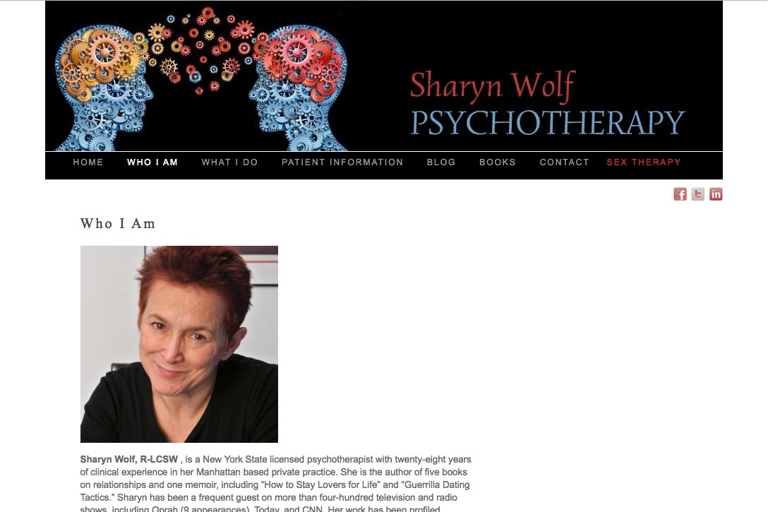 web design for a therapist and author - Sharyn Wolf - who am I page