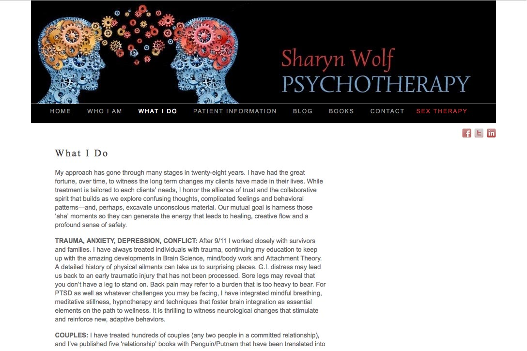 web design for a therapist and author - Sharyn Wolf - what I do page