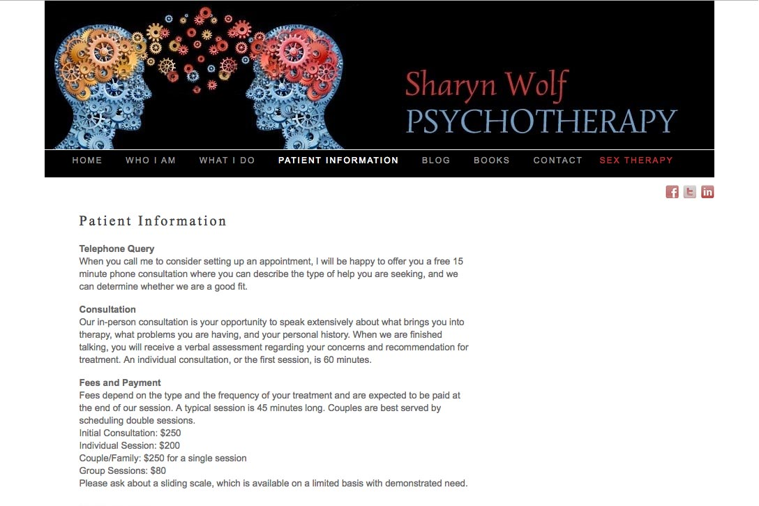 web design for a therapist and author - Sharyn Wolf - patient information page