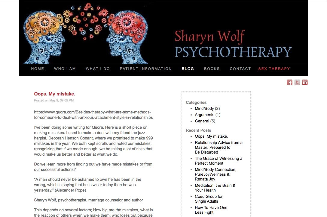 web design for a therapist and author - Sharyn Wolf - blog