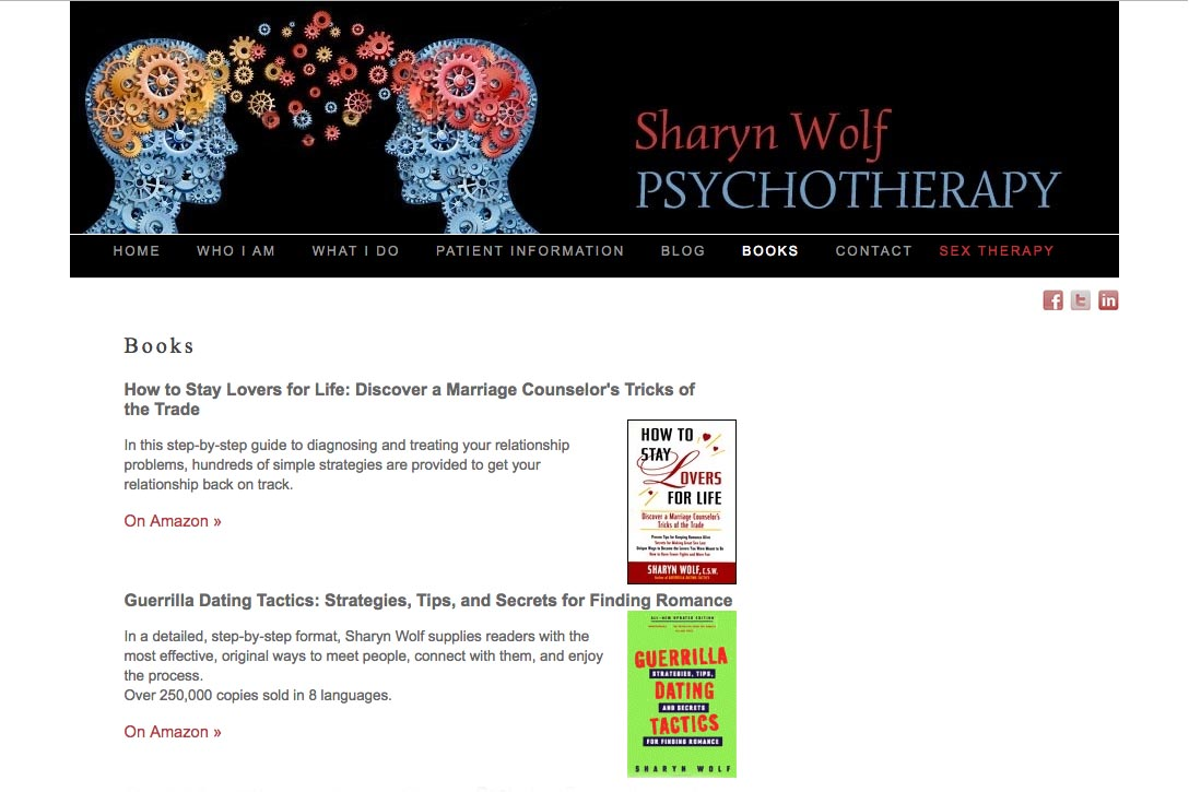 web design for a therapist and author - Sharyn Wolf - books page