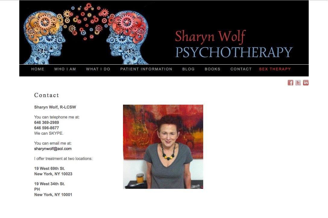 web design for a therapist and author - Sharyn Wolf - contact page