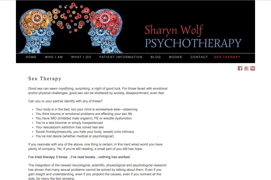 web design for a therapist and author - Sharyn Wolf - sex therapy page