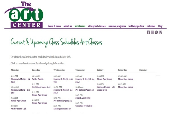 web design for an art school for New York children - schedule page