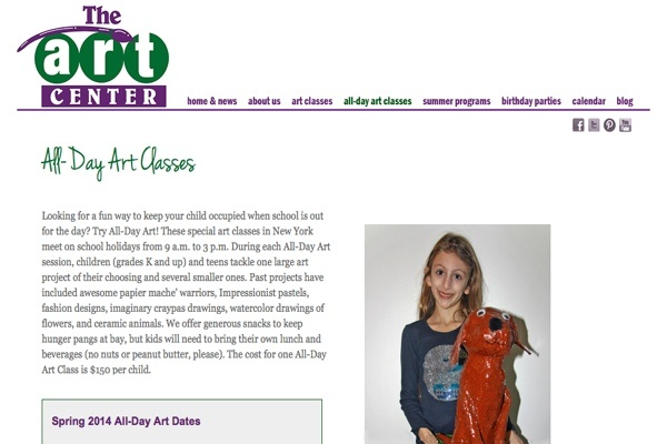 web design for an art school for New York children - art classes page