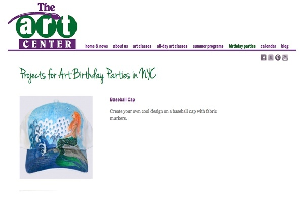 web design for an art school for New York children - birthday parties page