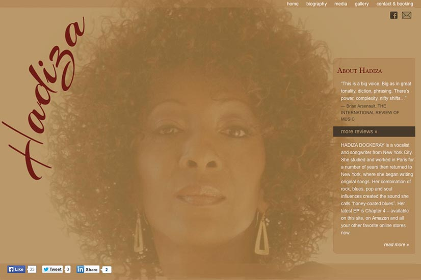 web design for a jazz singer - by web designer for artists and musicians, Rohesia Hamilton Metcalfe