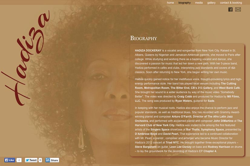 web design for a jazz singer and songwriter - bio page
