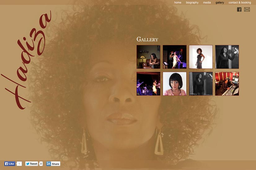 web design for a jazz singer and songwriter - gallery index  page