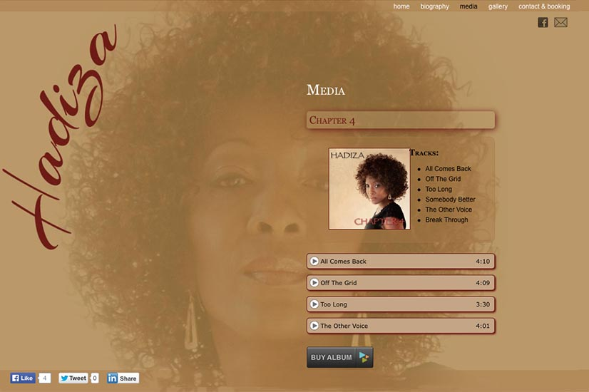 web design for a jazz singer and songwriter - media page