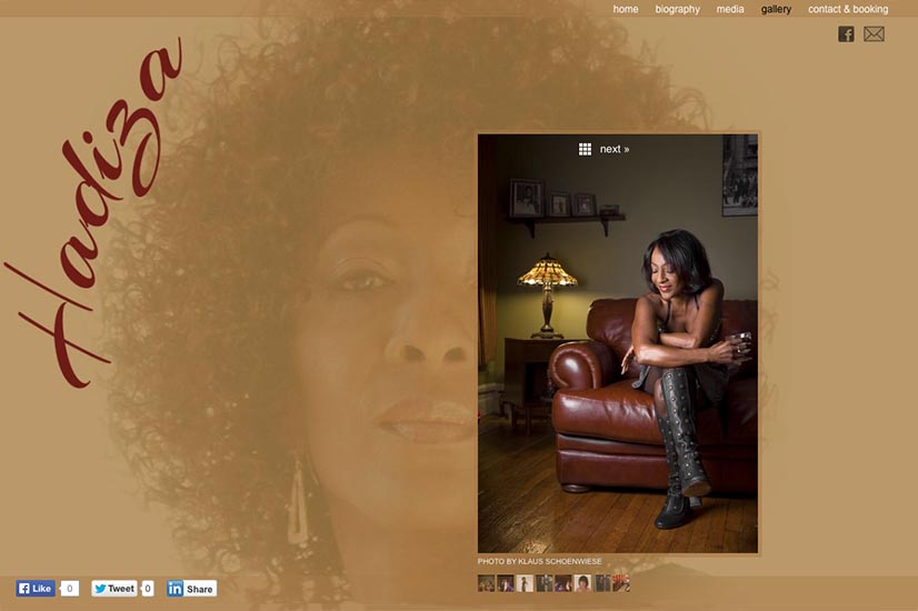 web design for a jazz singer and songwriter - gallery single page