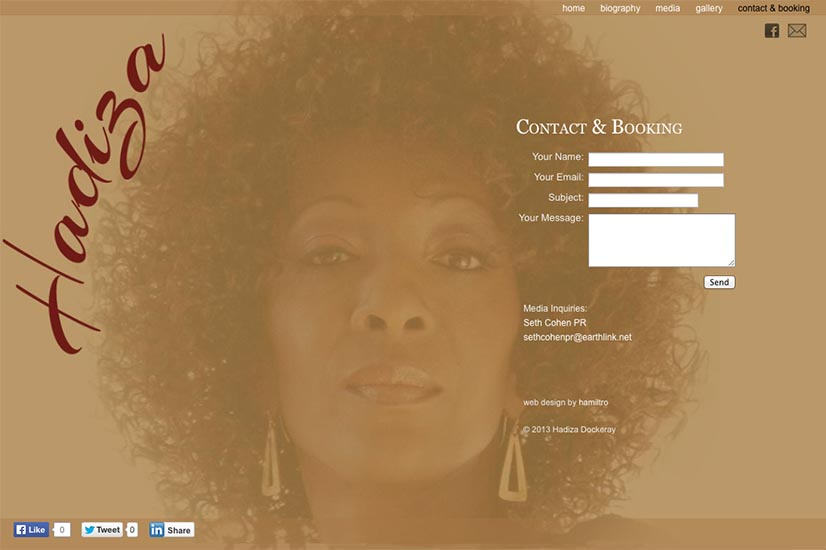 web design for a jazz singer and songwriter - contact page