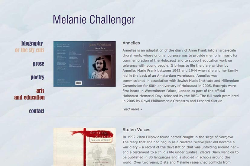 web design for a writer author and poet - arts education index page