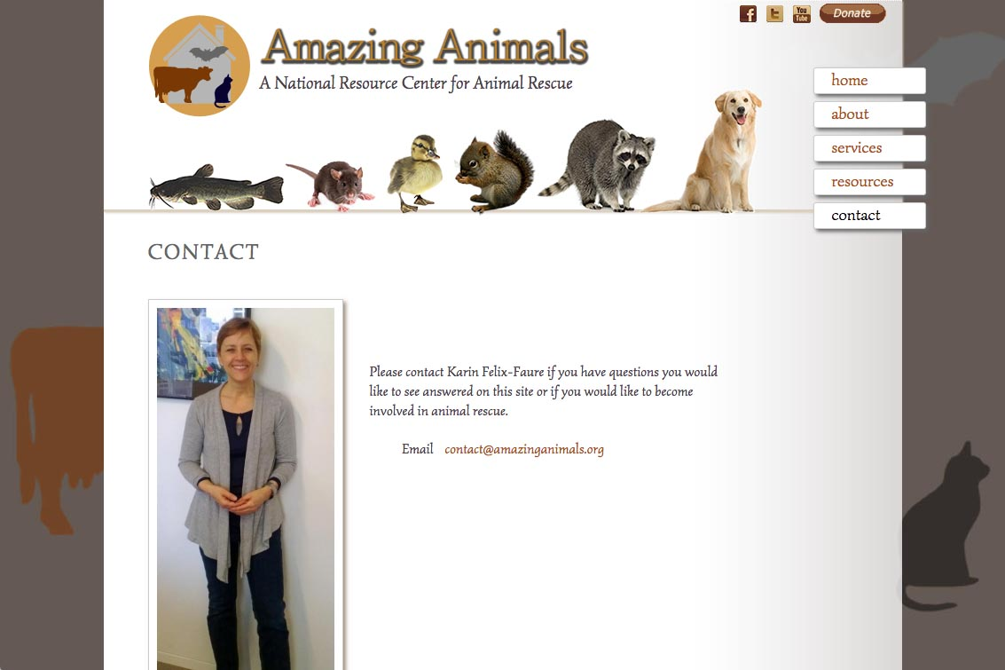 web design for a non-profit organization - Amazing Animals - contact page for Karin Felix Fauré