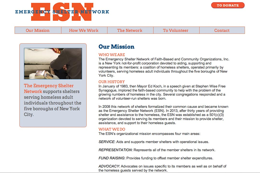 web design for a non-profit organization in new york - Emergency Shelter Network