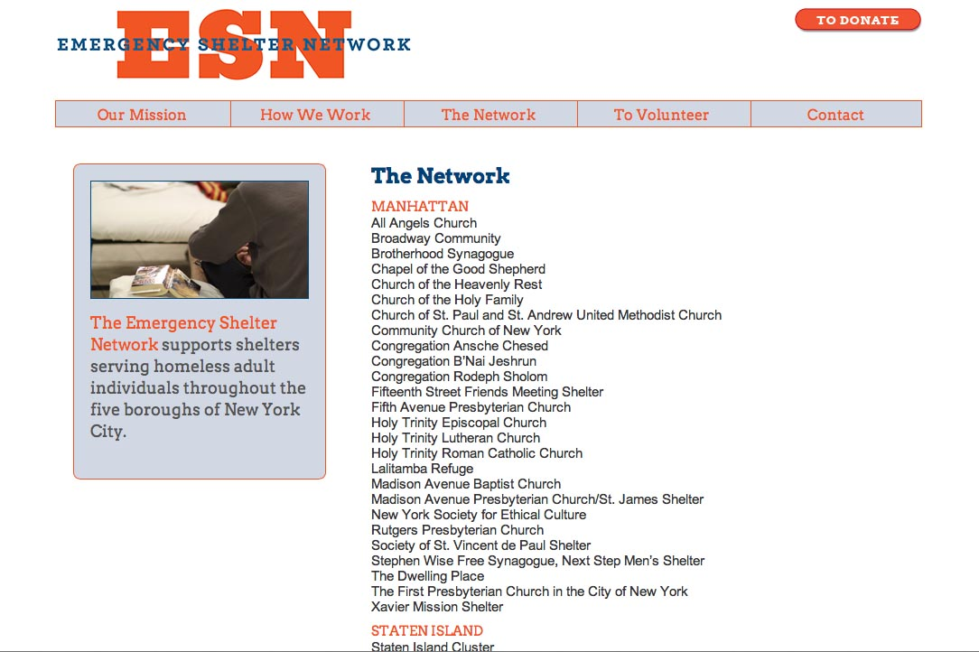 web design for a non-profit organization in new york - ESN - the network page