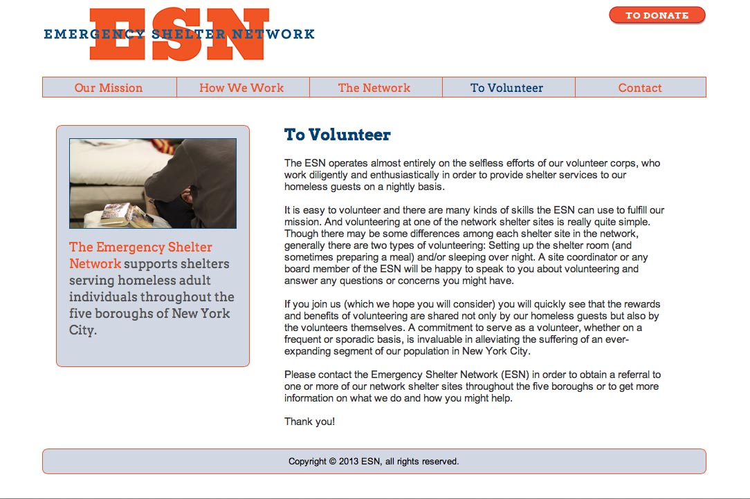 web design for a non-profit organization in new york - ESN - volunteers page