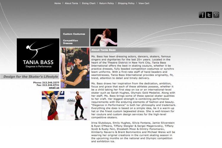 web design for a skating couture designer