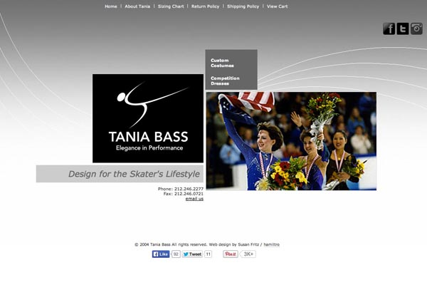 e-commerce  web design for a couture skating costume designer - Tania Bass