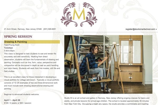 web design for an art school - Studio M