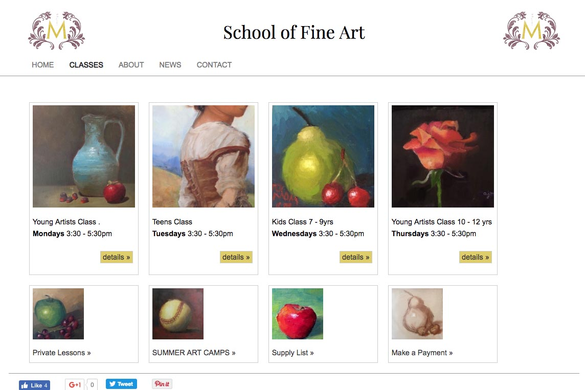 web design for an art school - Studio M - classes page