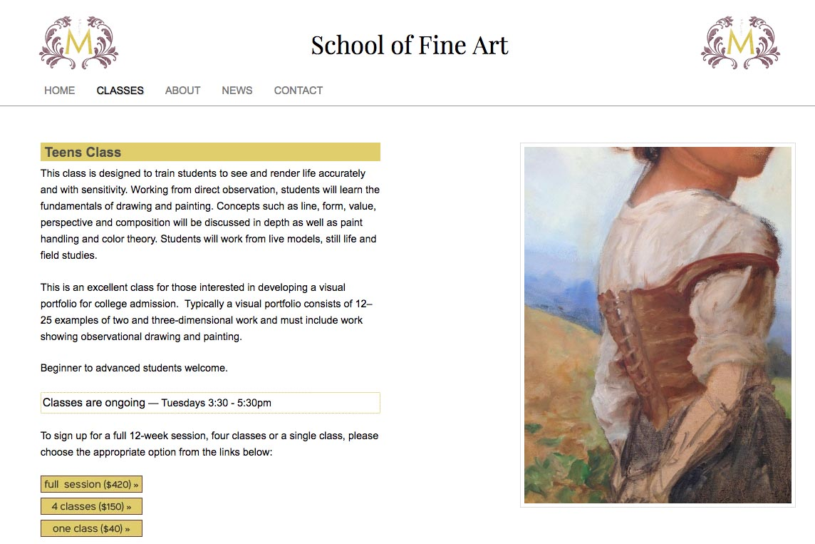 web design for an art school - Studio M - teen class page