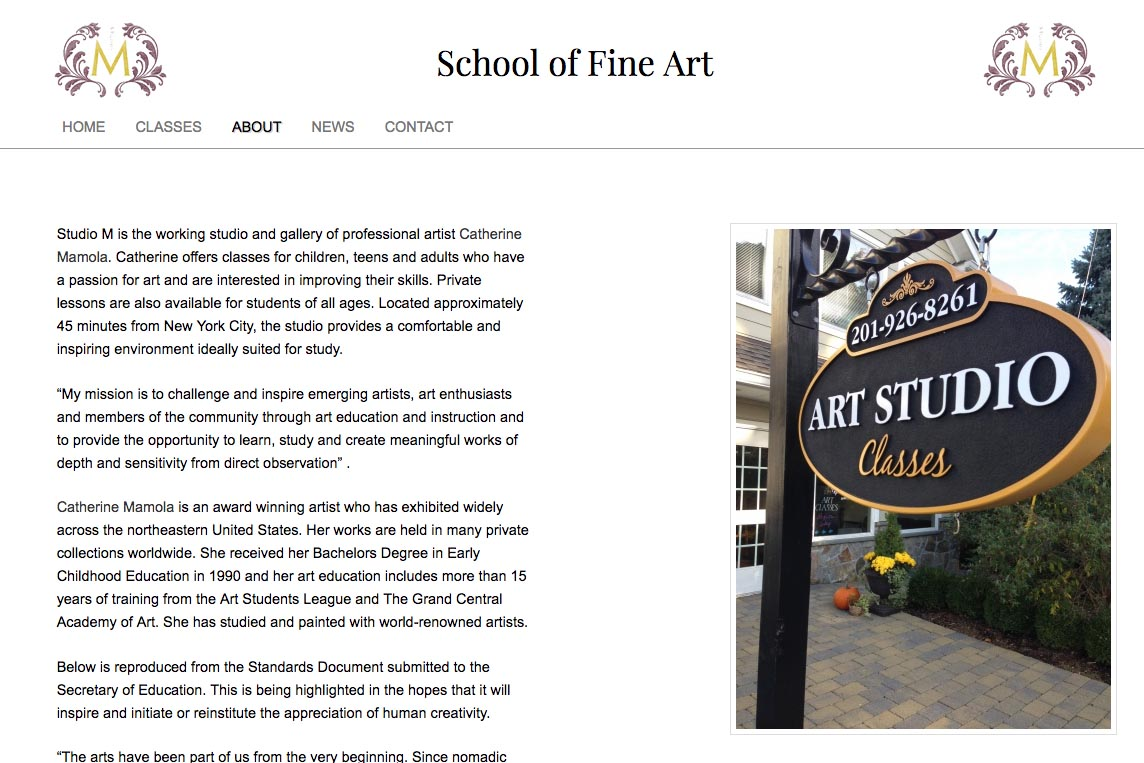 web design for an art school - Studio M - about page