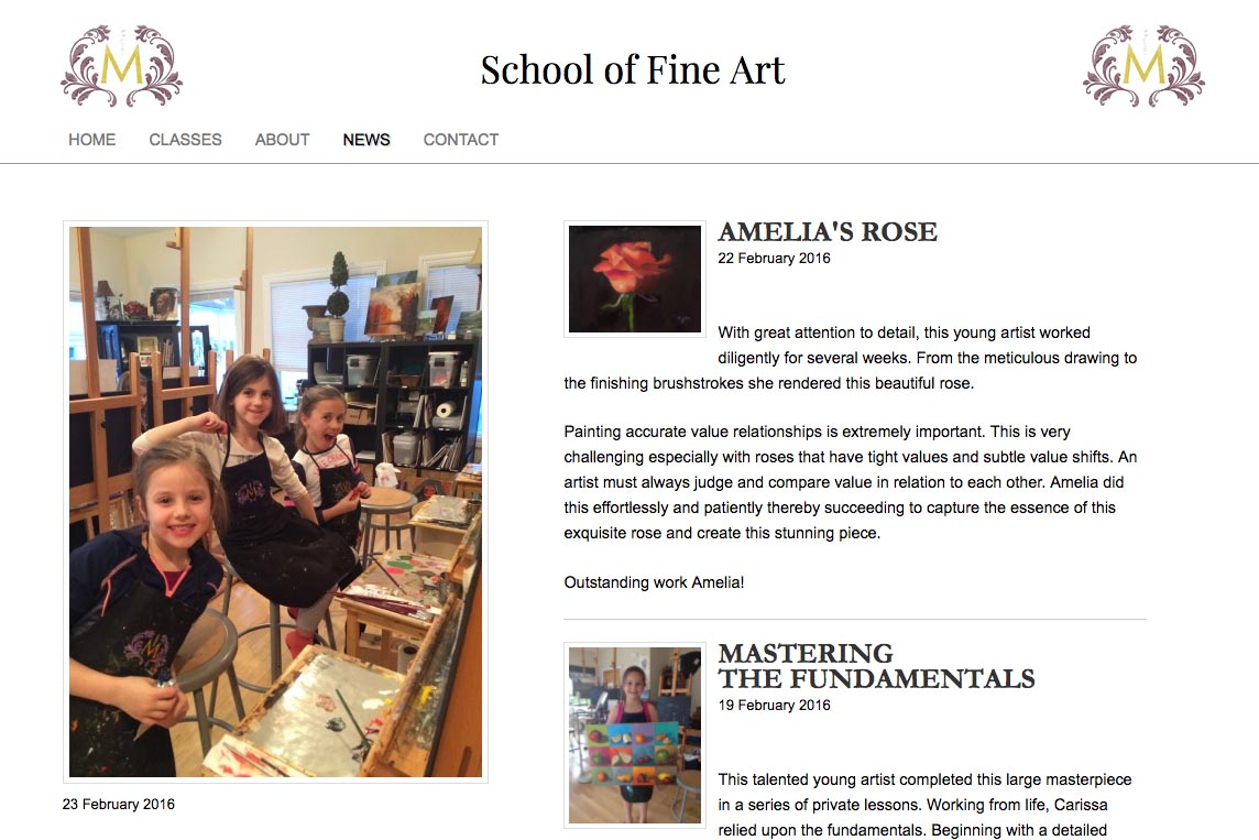 web design for an art school - Studio M - news page