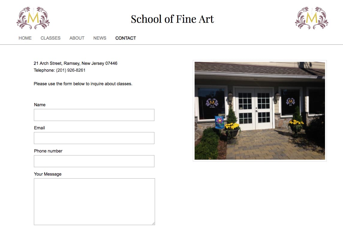 web design for an art school - Studio M - contact page
