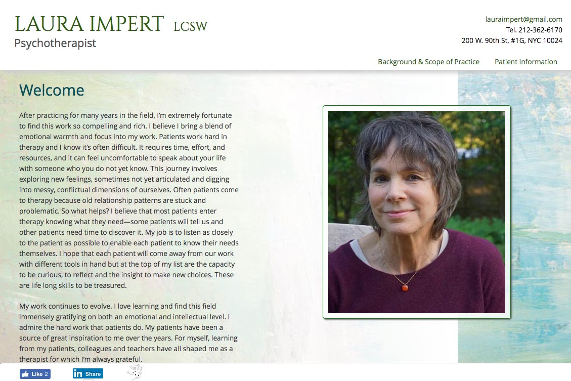 web design for a therapist - Laura Impert - homepage