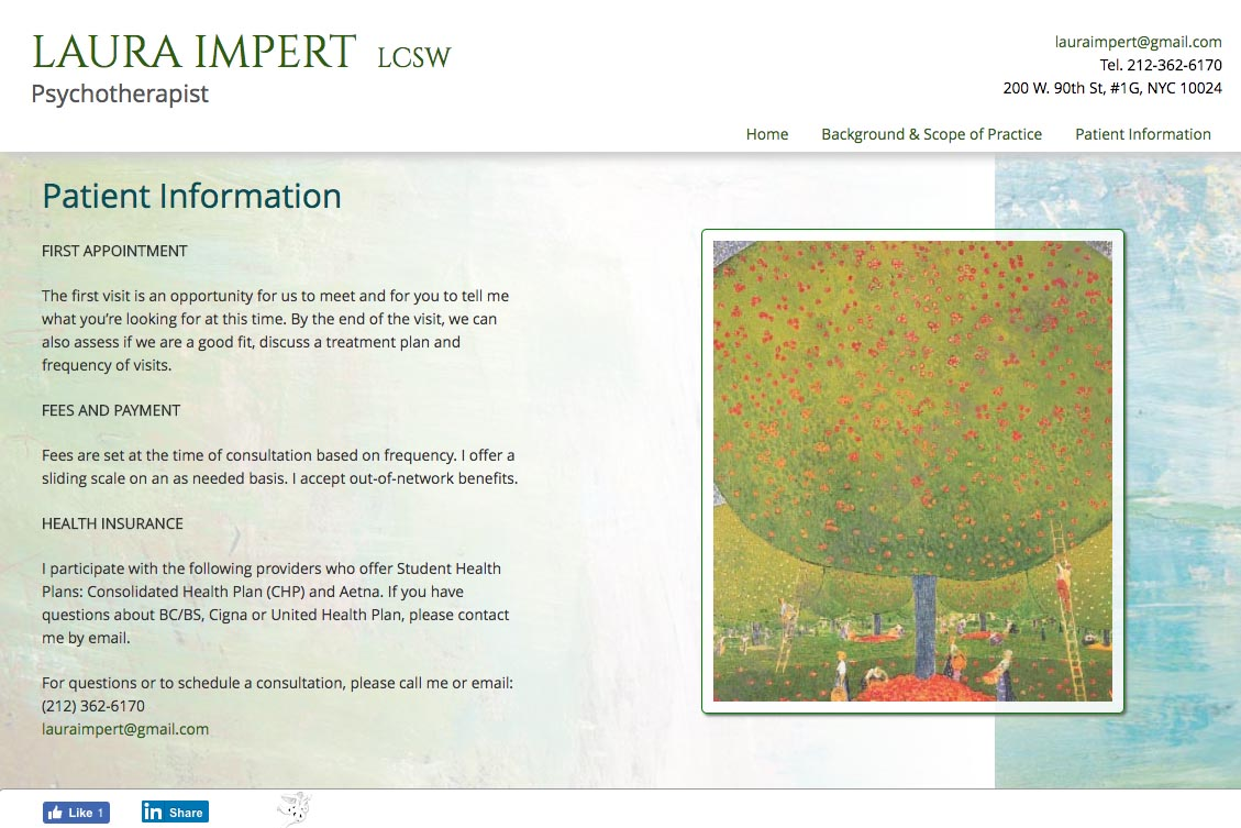 web design for a psychotherapist - Laura Impert - patient information page