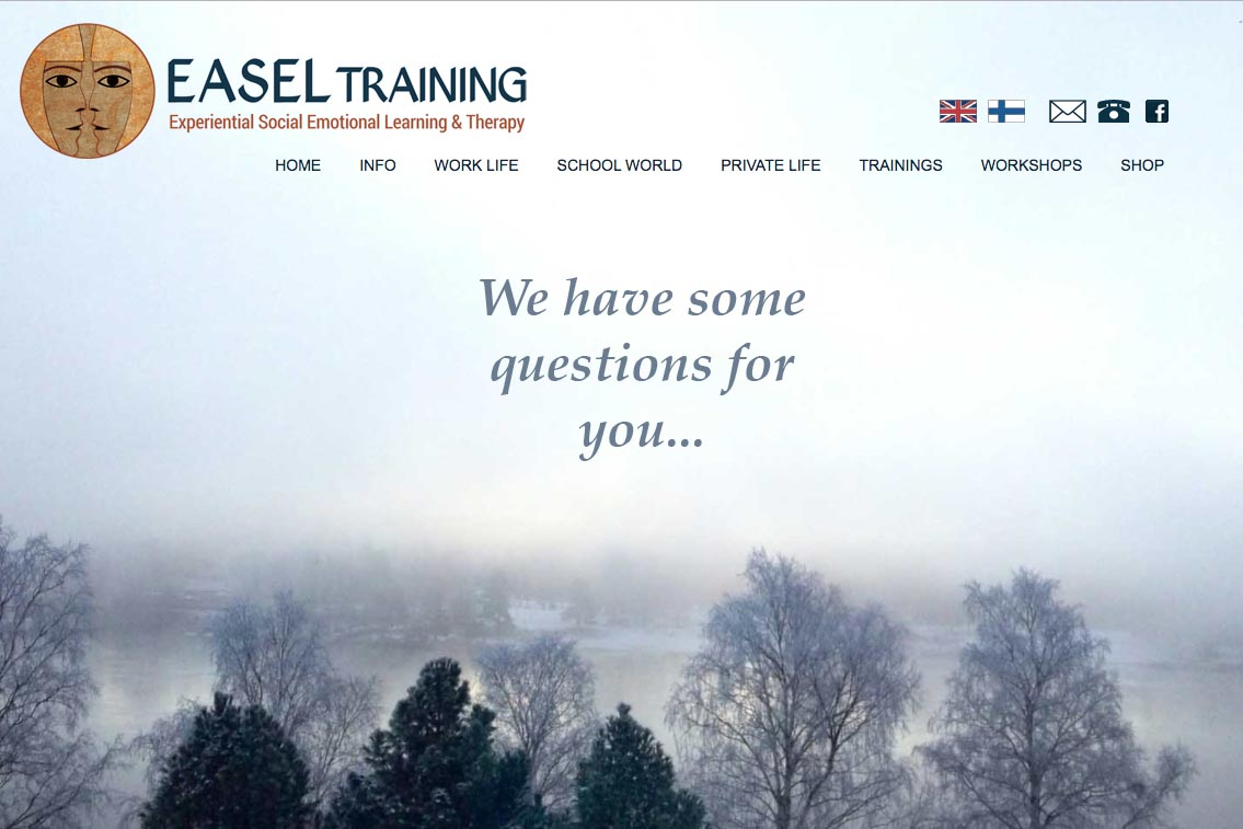 web design for a life coaching/therapy service in Finland - Easel Training
