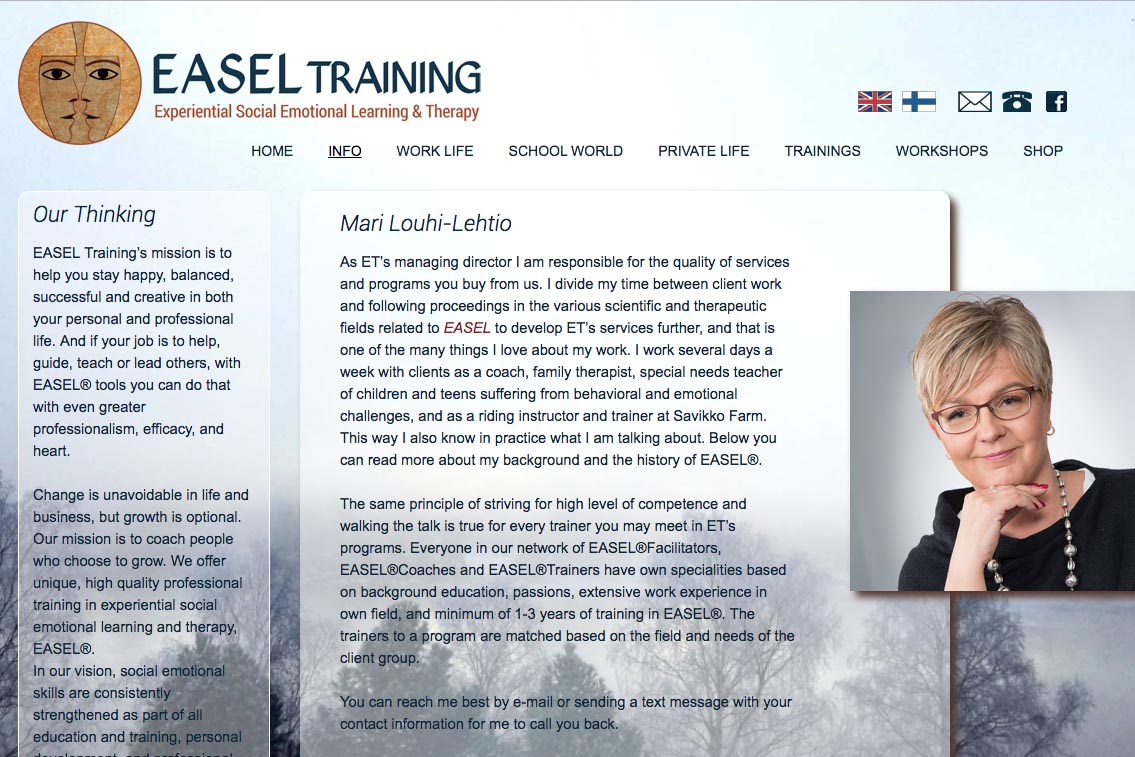 web design for a life coaching/therapy service - Easel Training  - about Mari page