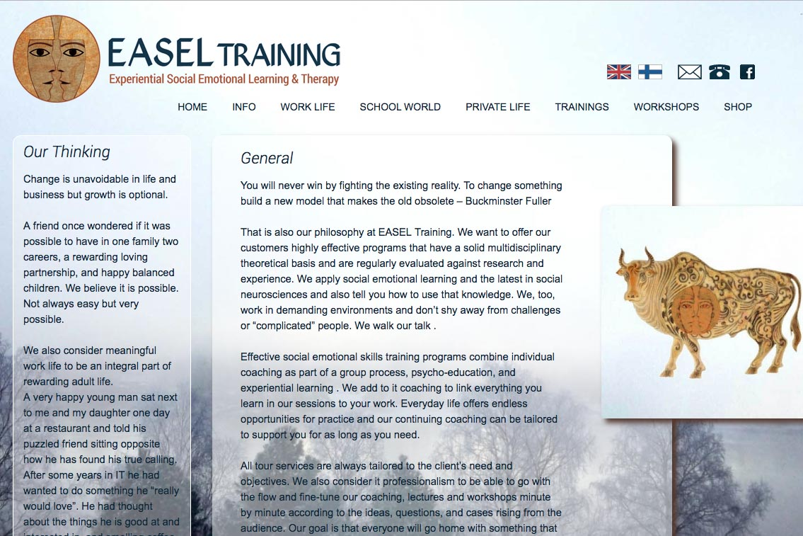 web design for a life coaching/therapy service - Easel Training  - work and life page