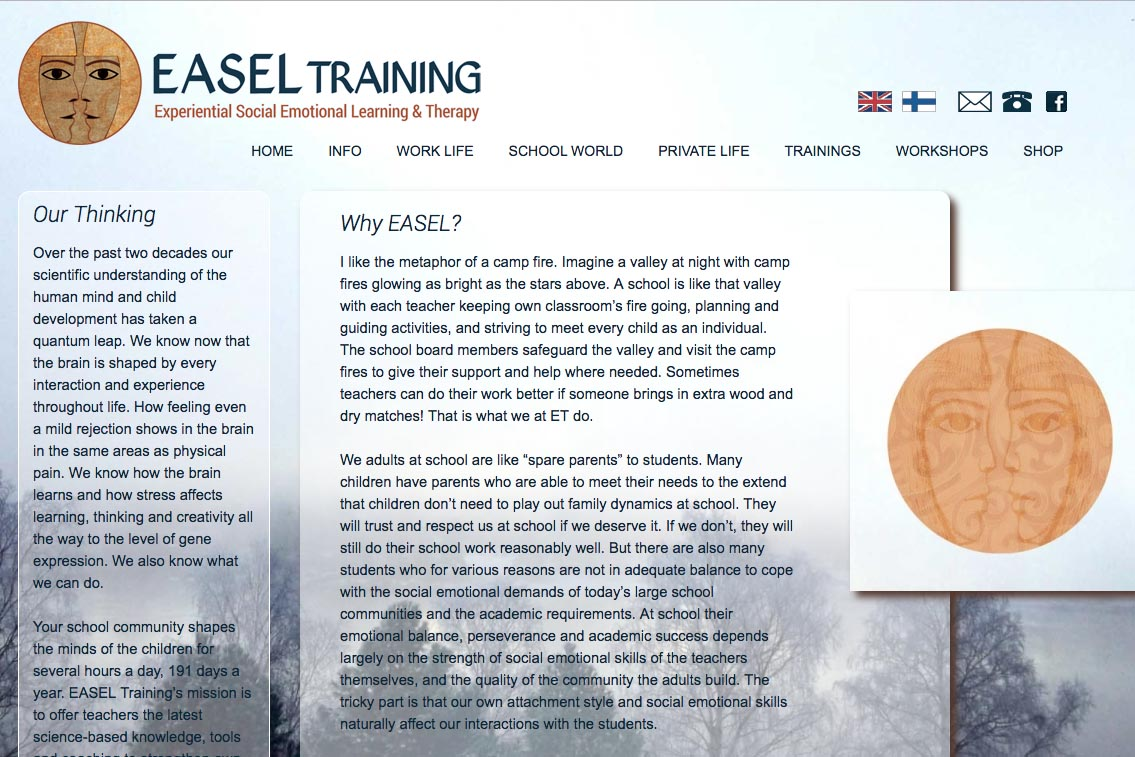 web design for a life coaching/therapy service - Easel Training - school and world page