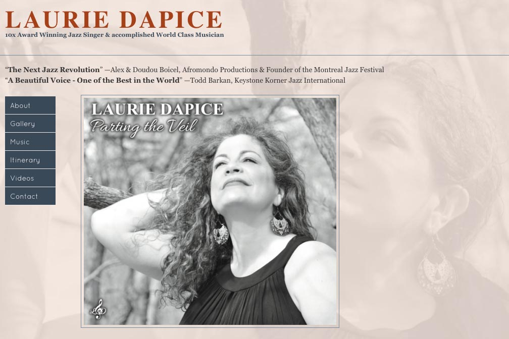 web design for a New York jazz singer - Laurie Dapice