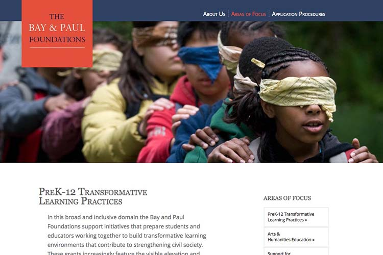 web design for a non-profit organization - areas of focus pre-k page