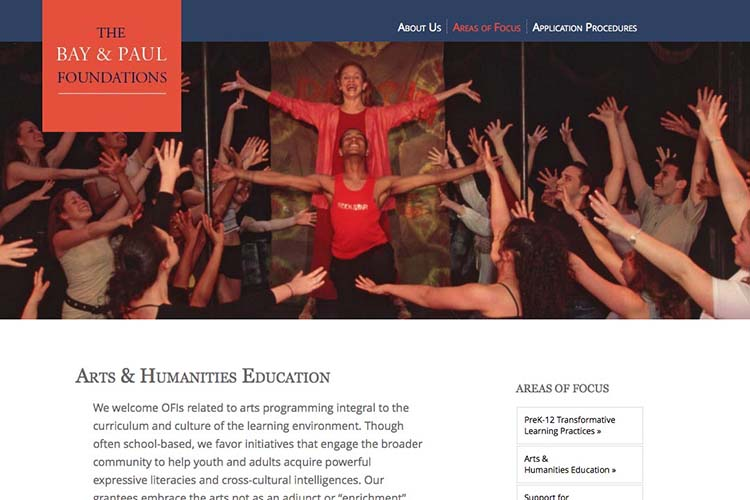 web design for a non-profit organization - areas of focus - arts page