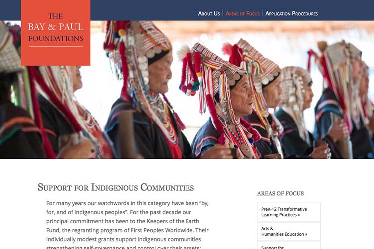 web design for a non-profit organization - areas of focus indigenous peoples page