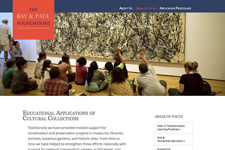 web design for a non-profit organization - areas of focus  cultural page