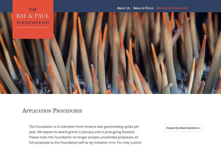 web design for a non-profit organization - applications page